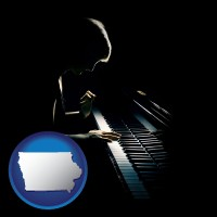 iowa map icon and a concert pianist playing a piano