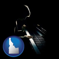 idaho map icon and a concert pianist playing a piano