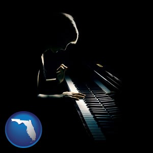a concert pianist playing a piano - with Florida icon
